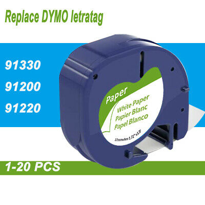 Compatible DYMO LetraTag 91330 91200 White Paper 92630 12mm Label Tape Laminated