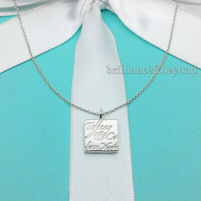 Tiffany & Co. Notes Square Pendant Necklace 925 Sterling Silver Authentic