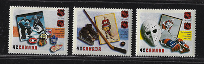 Canada Stamps — Set of 3 — 1992, National Hockey League #1443@1445 — MNH