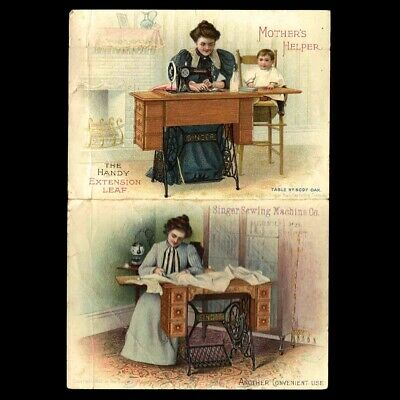Circa 1880s Folding Booklet Singer Sewing Machine No. 15 Victorian Trade Card