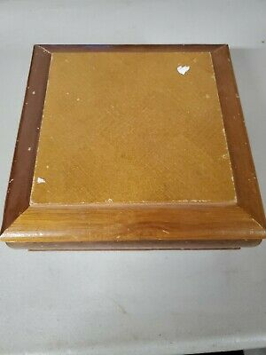 Small wooden jewelry box with mirror ring holders trinket holder
