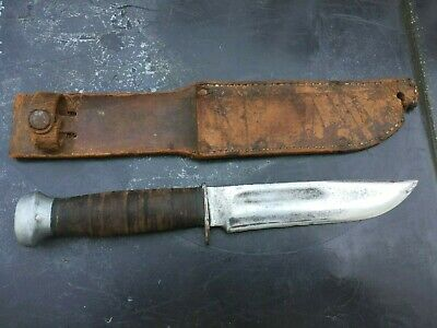 WWII ear US Army USMC PAL RH 36 Fighting stacked handle knife + Leather Sheath