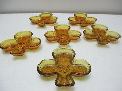 Vintage Tiara by Indiana Glass Set of 6 Club Shaped Nut Dishes Ashtrays Amber