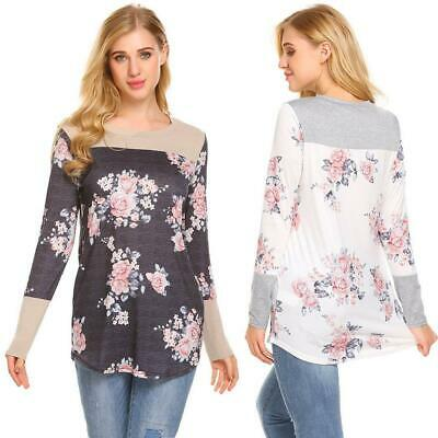 Women Round Neck Long Sleeve Printed Patchwork Casual T-Shirt Blouse GDY7 02