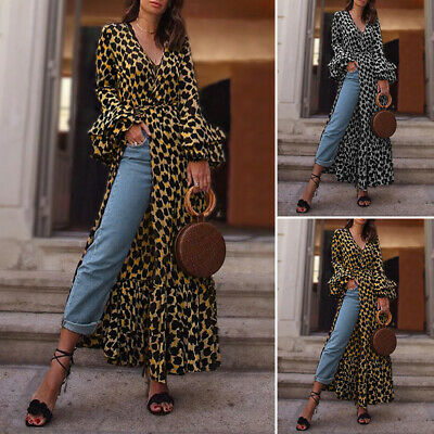 Womens Leopard V Neck High Slit Sexy Ladies Holiday Evening Dresses Long Tops