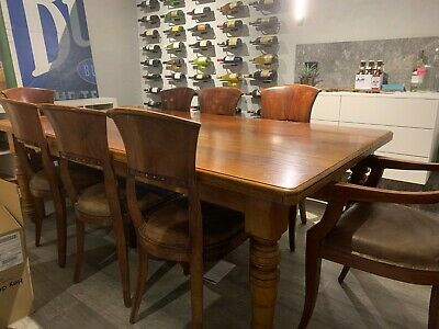 Vintage hardwood dining table and chairs