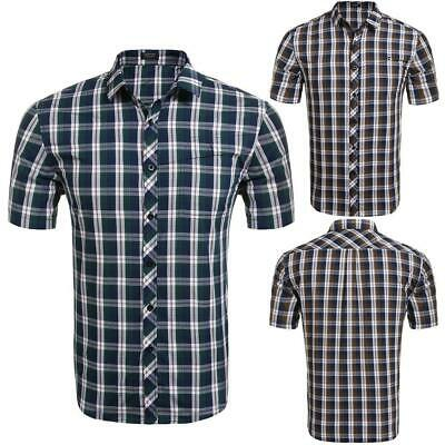 Men's Summer Short Sleeve Plaid Pocket Casual Button Down Shirt GDY7