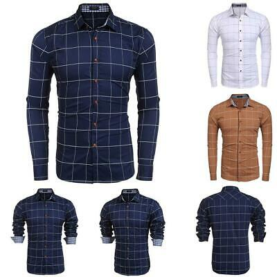 Men Slim Fit Long Sleeve Plaid Button Down Casual Shirts GDY7
