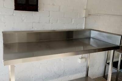 Large Commercial Stainless Steel Corner Table With Wall Sheets
