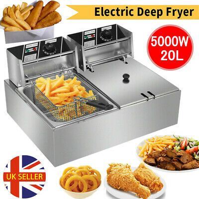 20L Commercial Electric Deep Fryer Fat Chip Twin Dual Tank Stainless Steel UK