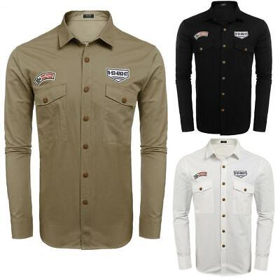 Men's Military Style Long Sleeve Appliques Pocket Casual Shirt GDY7 02