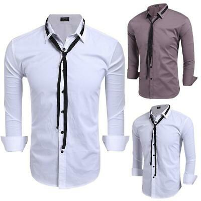 Men Casual Shirt Collar Long Sleeve Button Shirt with Drawstring GDY7