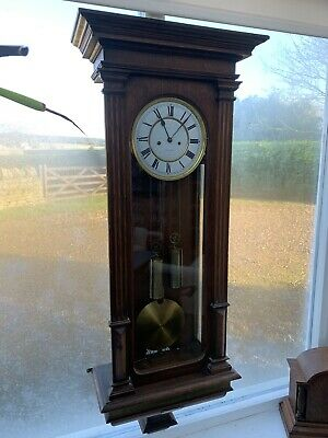 "Antique Double Weight Vienna Regulator Wall Clock by Lenzkirch ""1 Million"" Stamp"