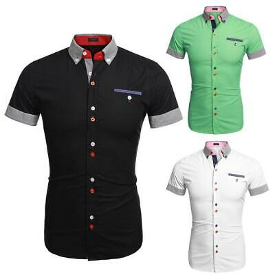 Men Fashion Slim Fit Stripe Turn Down Collar Patchwork Short Sleeve GDY7 01