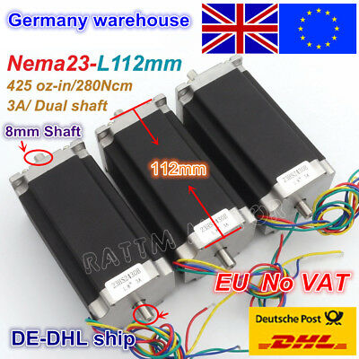 【UK】 3Pcs Nema23 CNC Stepper Motor 23HS2430B Dual Shaft 425oz-in 3A 112mm 4-Lead