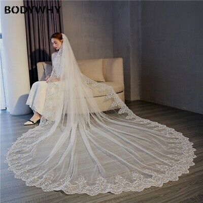 5 Meter Cathedral Wedding Veil Lace Edge Bridal Veil Comb Wedding Accessories