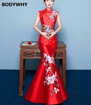 Chinese Cheongsam QiPao Women Wedding Dress Fishtail Evening Party Long Red