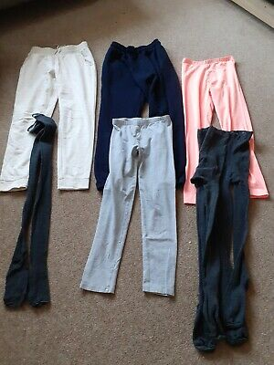Girls Clothes Bundle Age 10 To 11 Jogging Bottoms X2 Leggings X2 Tights X3