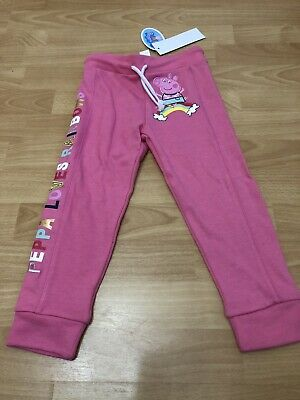 New With Tags Girls Pink Peppa Pig Joggers Trouser Size 3-4 Years