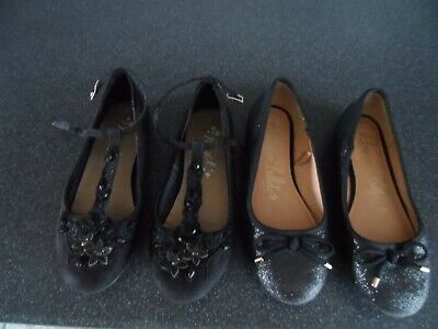 2 Pair Size 1 Girls Shoes  Next & George Worn Once