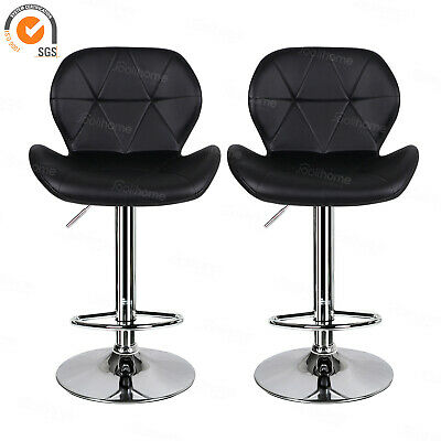 Black 2×Bar Stools Breakfast Kitchen Pub Office Chair PU Chrome Gas Lift Padded