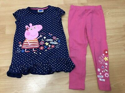 Girls Peppa Pig Navy Blue Top And Pink Leggings Outfit Size 3-4 Years