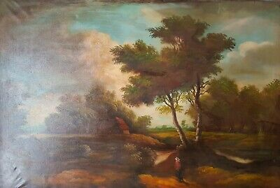 Oil on painting on canvas dutch landscape