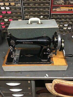 Antique 1903 Singer 27K Hand Crank Sewing Machine Working Fine With Case