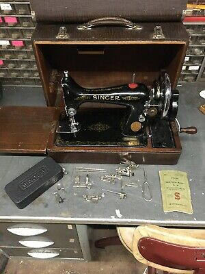 Vintage Singer 1939 99K Hand Crank Sewing Machine Working, With Case And Extras