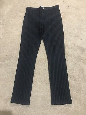 Girls River Island Trousers Age 7-8. Pinstripe Trousers. Black Trousers.
