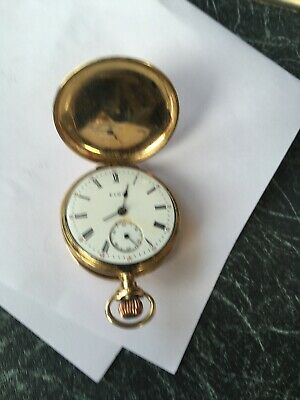 14K Solid Gold Case Elgin Hunter Pocket Watch Grade 354 Immaculate Movement