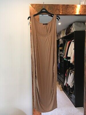 Boohoo Maternity Maxi Dress Size 16 Nude Camel Bodycon
