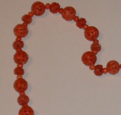 Chinese Carved Coral Beads