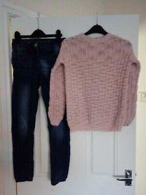 Girls Outfit Next Jeans and YD Jumper 10-11 Years