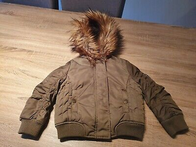 Girls Next Green Faux Fur Hooded Coat. Age 3 Yrs. Few Tiny Pulls In Material.