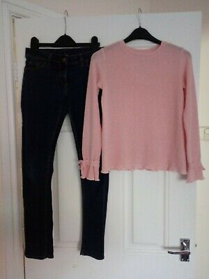 Girls Outfit Marks And Spencer jeans and Primark top 10-11 Years