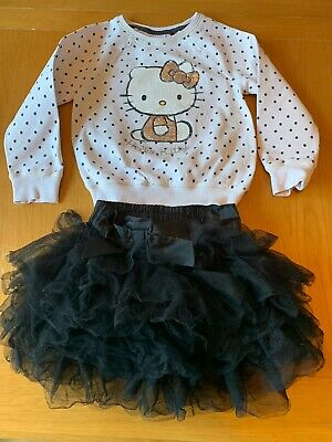NEXT Girls Outfit Size 4-5 Years Hello Kitty Jumper Black Tutu Skirt