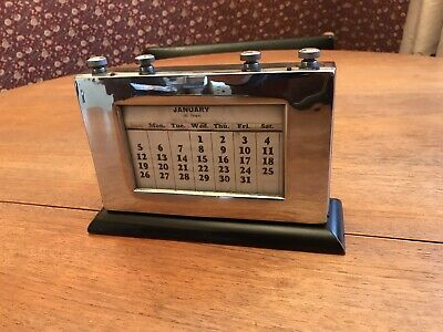 Very Large Antique Art Deco Chrome And Wood Perpetual Calendar Works Well