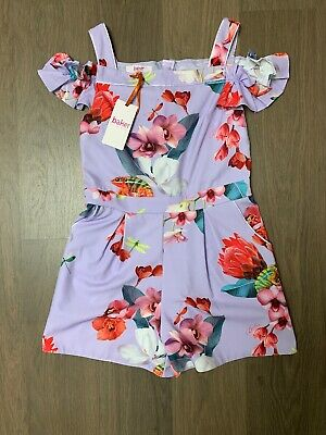 New Ted Baker Girls Floral Lilac Playsuit Size 10-11 Years