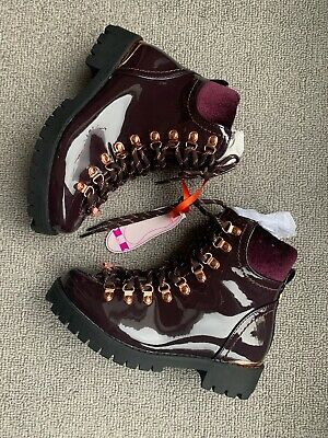 New Ted Baker Older Girls Burgundy Hiker Boots Size UK 3 EU 36