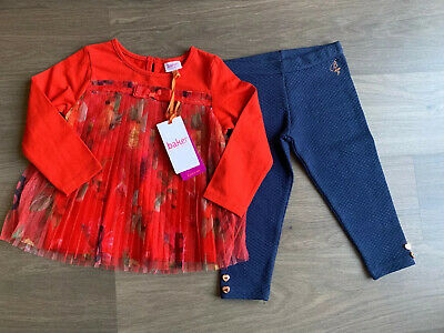 New Ted Baker Baby Girls Mesh Outfit Set Top And Leggings Size 18-24 Months