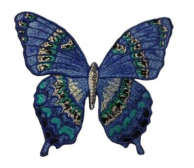 20082 Purple /& Blue Butterfly Garden Bug Wings Embroidered Sew Iron On Patch