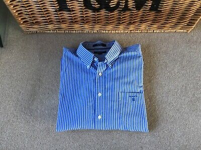 Men's GANT long sleeve blue/white stripe cotton shirt size 4XL regular fit NEW