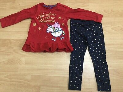 Girls Red And Blue Peppa Pig Unicorn Stars Top And Leggings Outfit Size 3-4 Yrs
