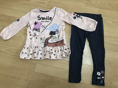 Girls Floral Peppa Pig Emily Elephant Top And Leggings Outfit Size 3-4 Years