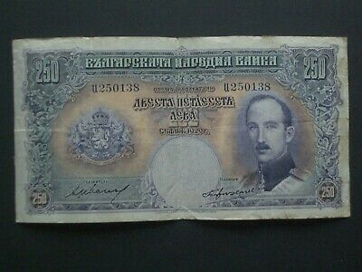 **Decent Scarce 1929 'NVF' Bulgaria 250 Banknote*******