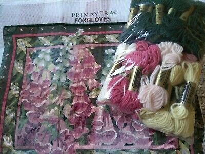 """PRIMAVERA TAPESTRY KIT """"FOXGLOVES"""" BY JULIA  A'COURT, Canvas and Wools"""