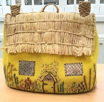 Vintage Felt, Raffia Embroidered Thatched Cottage Tea Cosy In Yellow