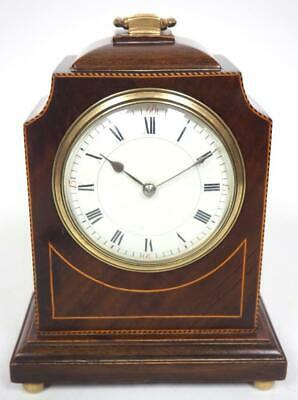 Wonderful French 8 Day Mantel Clock Solid Mahogany Wood Caddy Top Mantle Clock