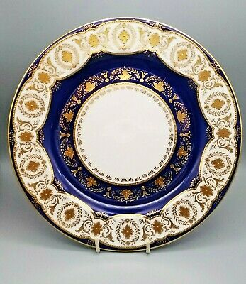 Antique English Porcelain Cauldon Gilded Dessert Plate C1910 Boston Retailer